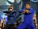 Justin Bieber and Usher were in sync on stage in 2011.