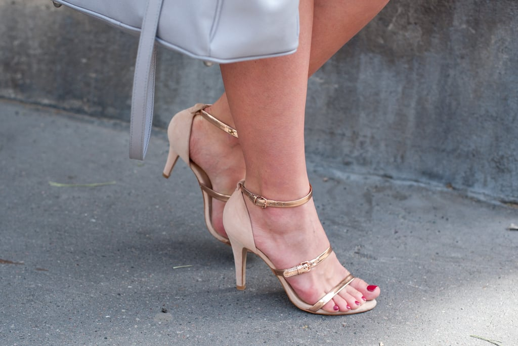 Zara's strappy metallic heels completed this look with understated sex appeal.