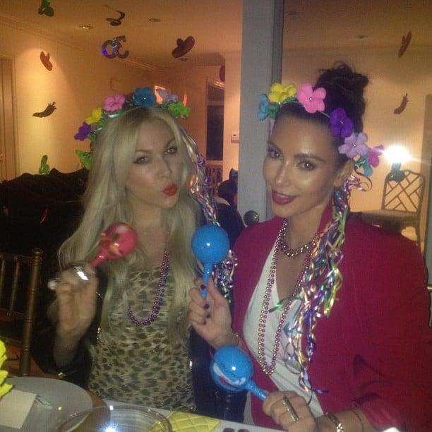 Kim Kardashian got into character during a theme party. Source: Instagram user kimkardashian