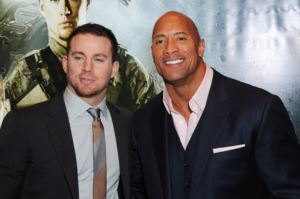 """Dwayne """"The Rock"""" Johnson revealed in a 2013 interview that he could see the sex appeal in Channing Tatum. Dwayne was not afraid to admit his feelings for his G.I. Joe: Retaliation costar, nor did he think it made him any less of a man: """"He is, according to some, and one People magazine, the Sexiest Man Alive. And the truth is, and I can say this because I'm very comfortable in my own manhood and sexuality, he is a very sexy guy. He's a good-looking guy."""""""