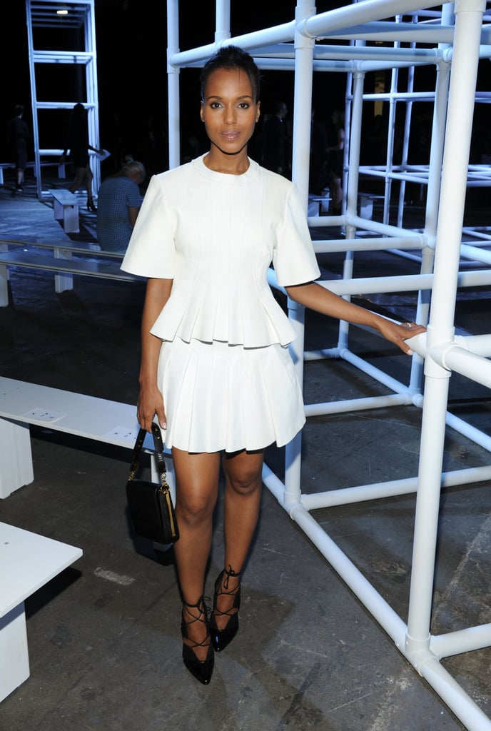 Kerry Washington wore an all-white ensemble while attending Alexander Wang's Saturday evening show.