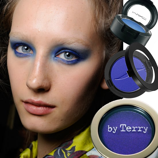 Electric Avenue  A fresh take on classic blue, spotted backstage at Rochas Spring 2011. This vivid hue looks especially charming with a tan — sweep bronzer across cheeks to accentuate cheekbones and balance the intensity of the shadow.  From top to bottom: By Terry Powder Eyeshadow in Midnight, $40; Sephora Colorful Mono Eyeshadow in My Favorite Jeans $12, MAC Eyeshadow in Electric Eel, $15