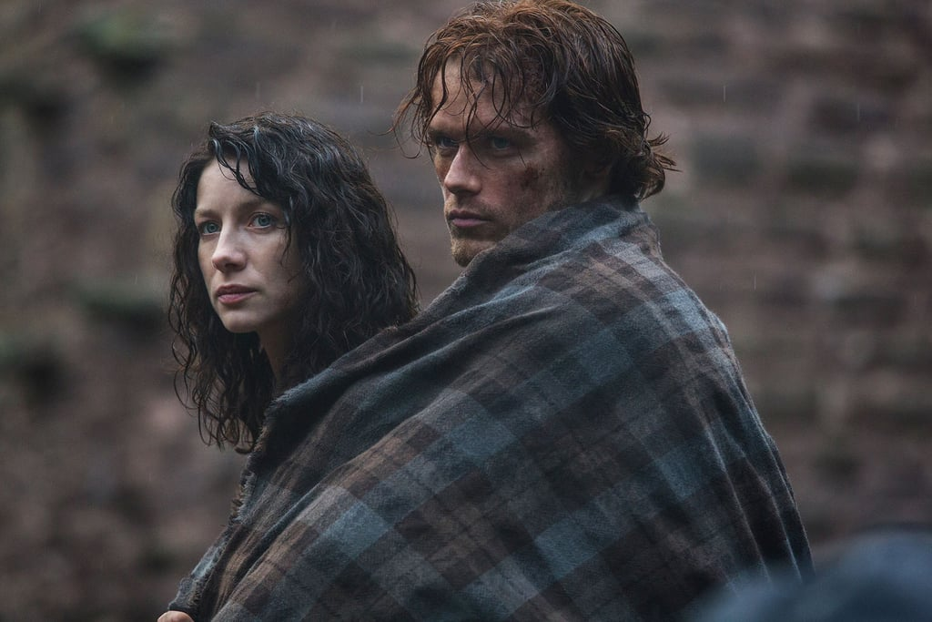 """When Claire (Caitriona Balfe) finds herself shifted from the 1940s to the 1700s, she """"has"""" to ride with Jamie (Sam Heughan), all pressed up against him."""