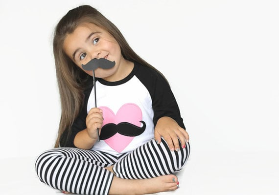 Mustache Love Heart Shirt