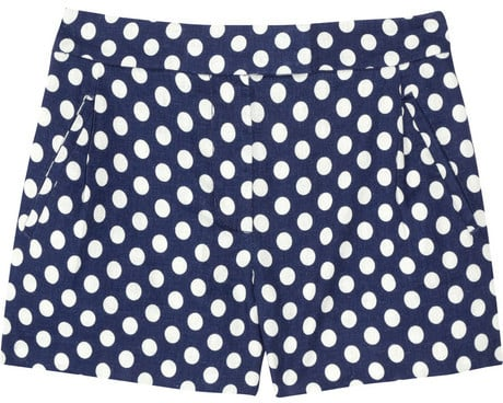 J.Crew Indigo polka-dot linen and cotton-blend shorts