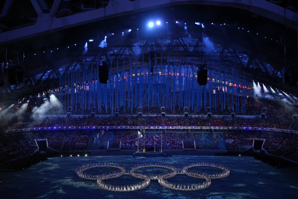 The dancers formed all five Olympic rings after giving a little nod to the snowflake malfunction.