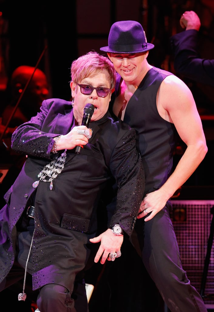 Elton John got down on stage with Channing Tatum at the Revlon Concert for the Rainforest Fund at Carnegie Hall in NYC.