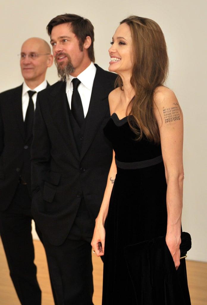 Brad Pitt and Angelina Jolie modeled their finest black-tie attire for a MOCA Gala in November 2009.