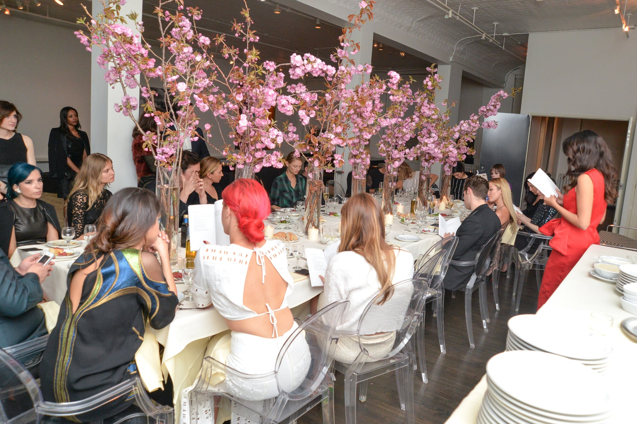 Selena and Kendall were seated at opposite sides of the big dinner table.