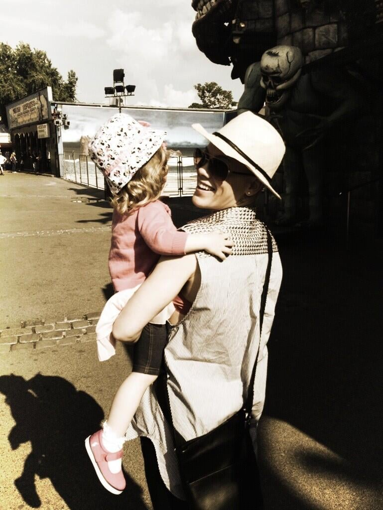 """Pink spent the day with her little Willow, tweeting, """"Thank you @hartluck for giving me the greatest gift of my life, my reason to celebrate today."""" Source: Twitter user Pink"""