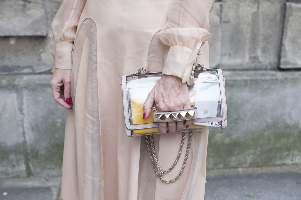 Valentino's metallic purse could dress up any look.