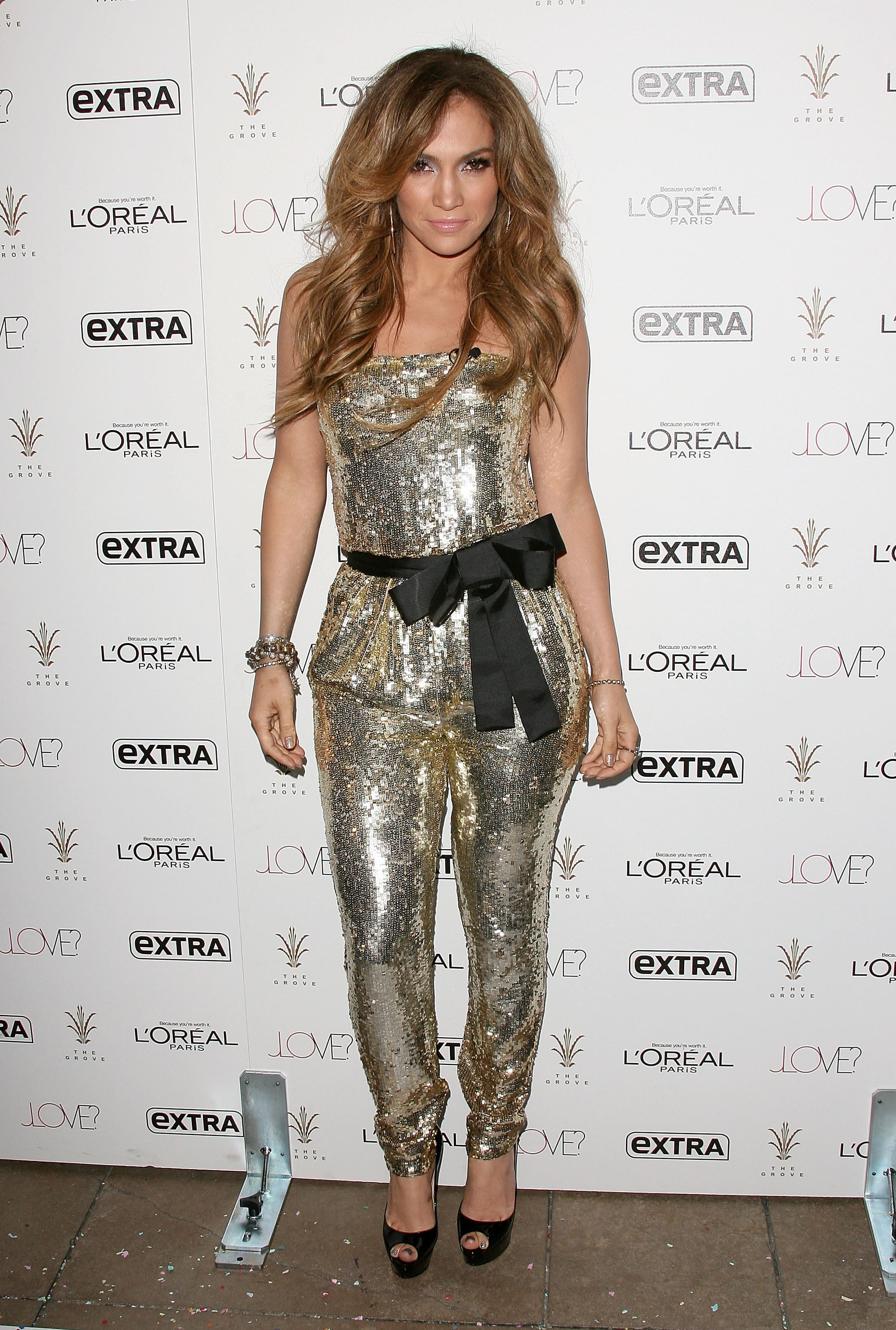 Glittering in a gold jumpsuit for an event in 2011.