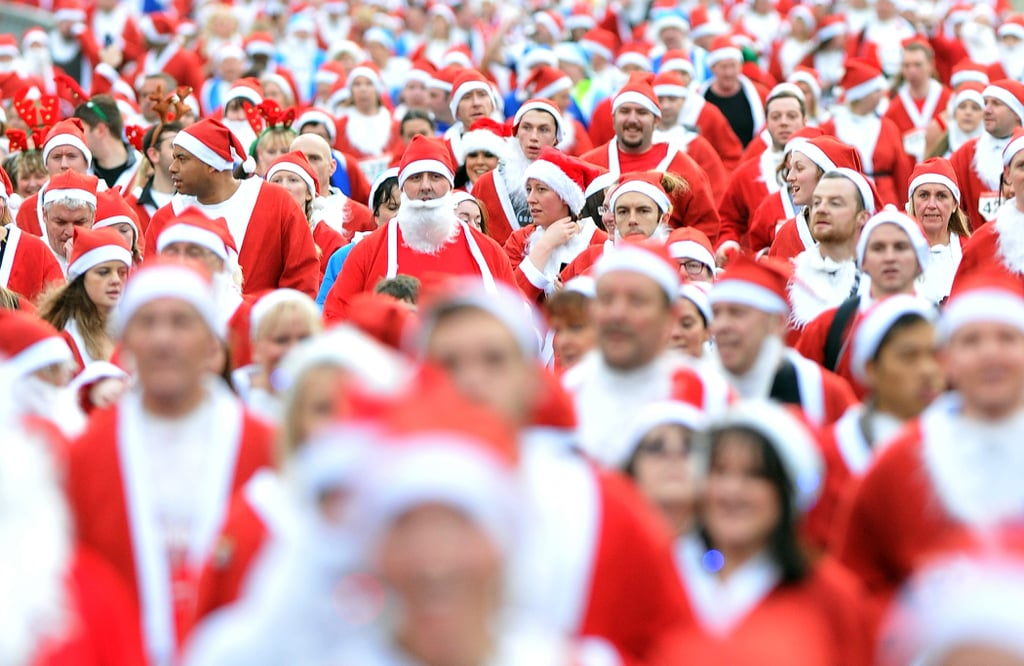 Thousands of people sporting Santa gear participated in a race in Liverpool, England.