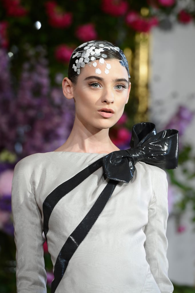 A bow done in black patent leather at Alexis Mabille Haute Couture Fall 2013 managed to feel not too sweet.