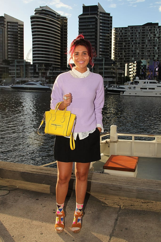 Another cute look, another statement sock! Love the lilac + yellow combo.