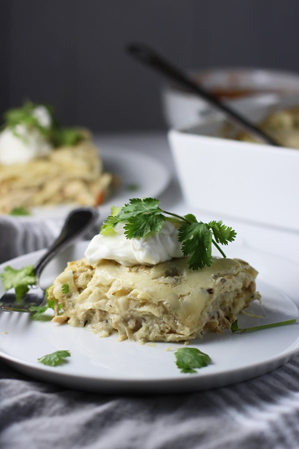 Salsa Verde Chicken Enchilada Stack