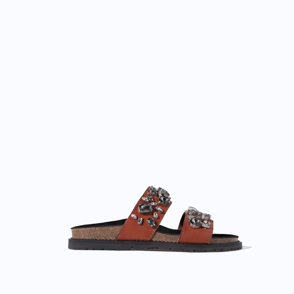 Zara Leather Jeweled Pool Slides ($100)