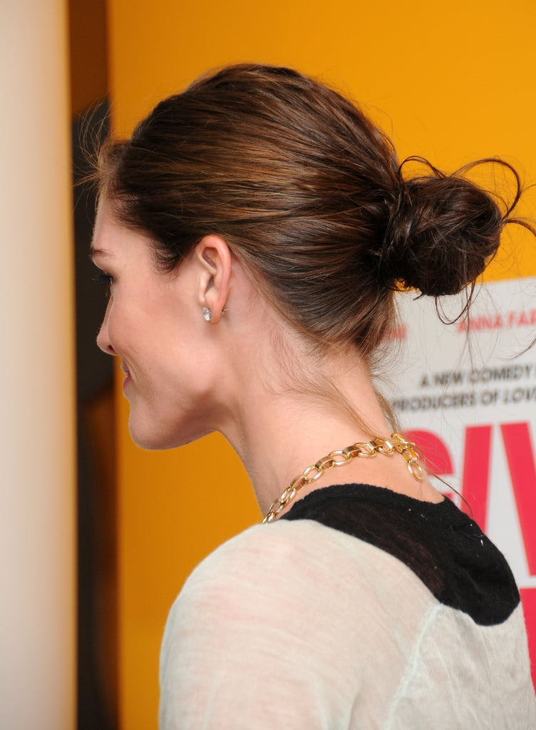 Hilary also isn't afraid to adopt a casual-cool hairstyle, and she twisted her locks into an completely attainable low bun.