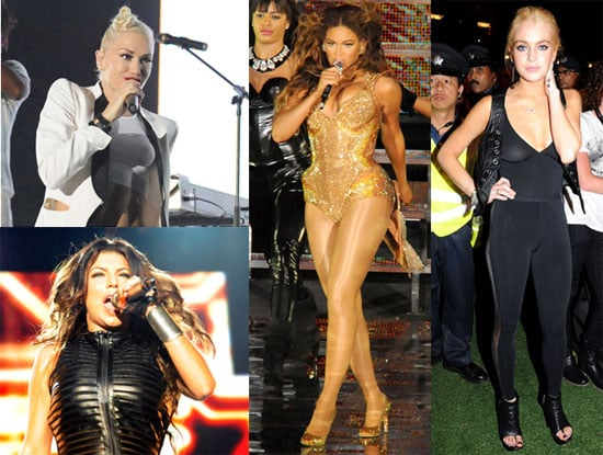 Photos of Lindsay Lohan, Beyonce Knowles, Fergie, Tony Kanal, Gwen Stefani, Tom Dumont, Adrian Young at the F1 in Singapore