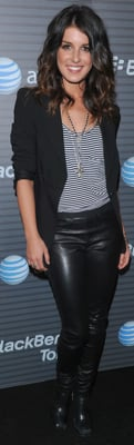 Shenae Grimes in Helmut Lang Leather Pants at BlackBerry Party