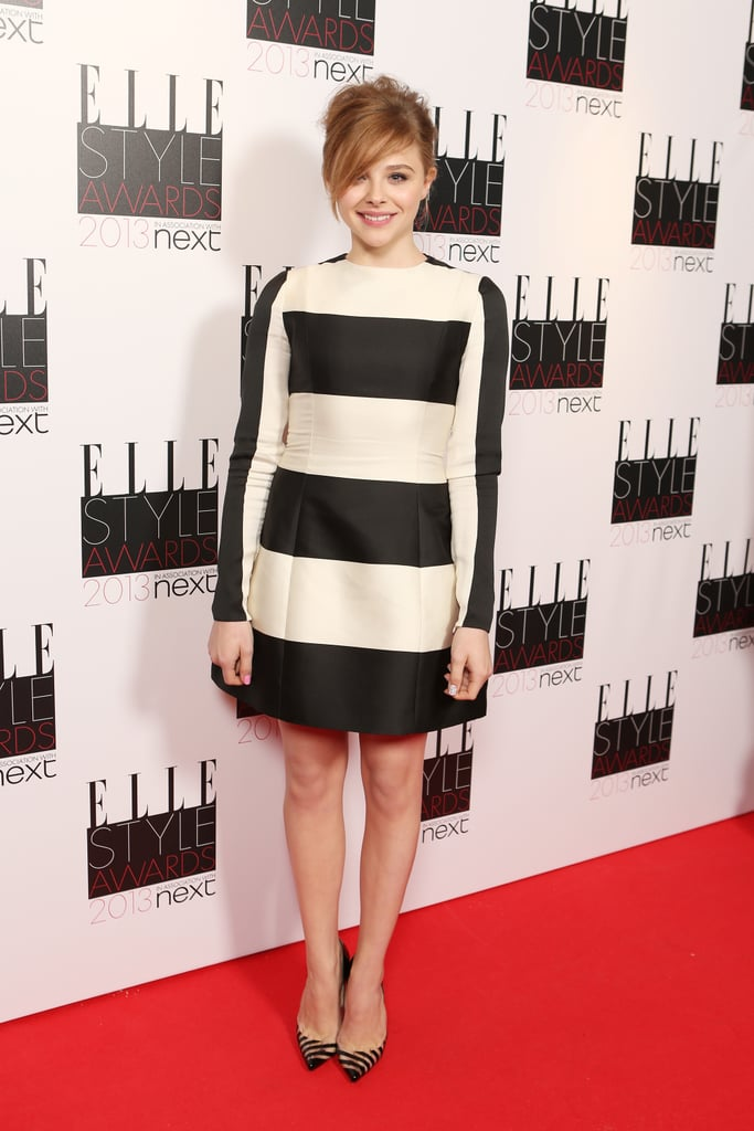 Chloë Moretz looked mod in her striped Stella McCartney dress and matching striped pumps.