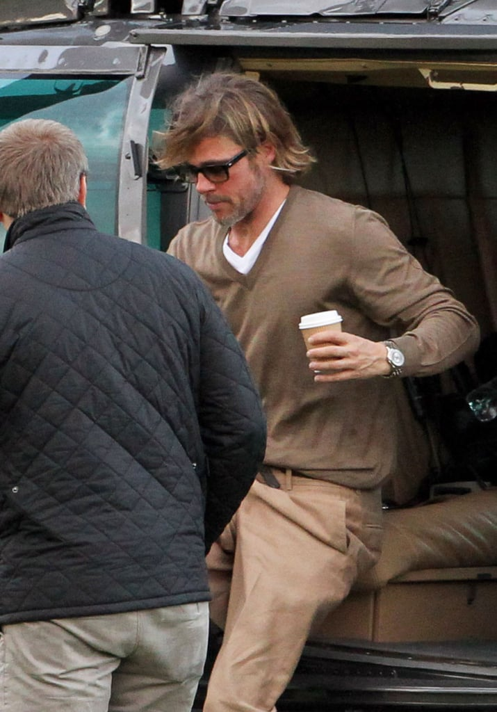 Brad Pitt arrived by helicopter to see Angelina Jolie.