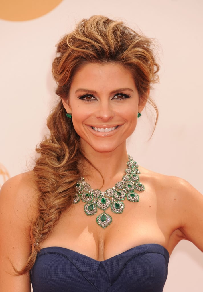 If you have a big, statement-making necklace like Maria Menounos's, you've got to pair it with a dramatic hairstyle, like this tousled fishtail braid.