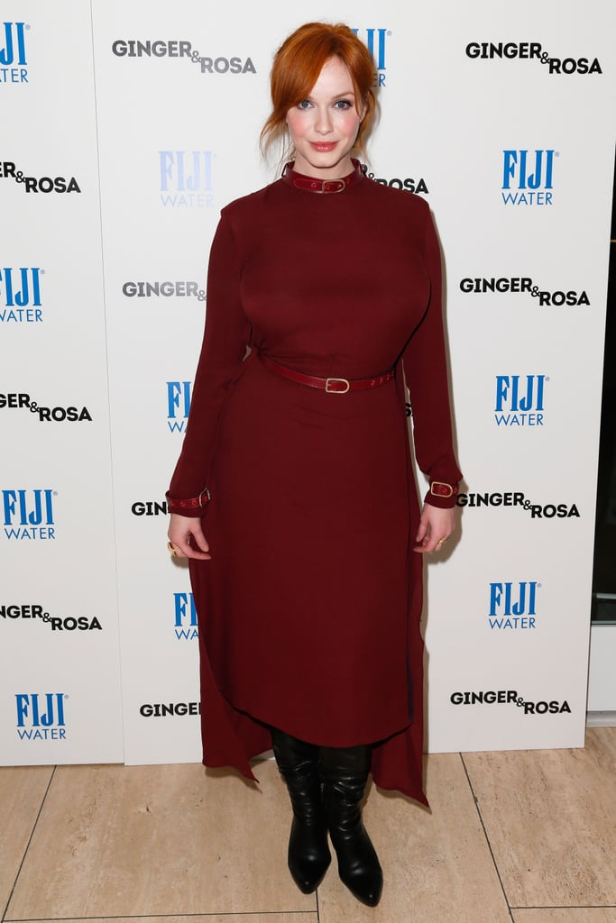 Christina Hendricks showed off her figure in a fitted red dress.