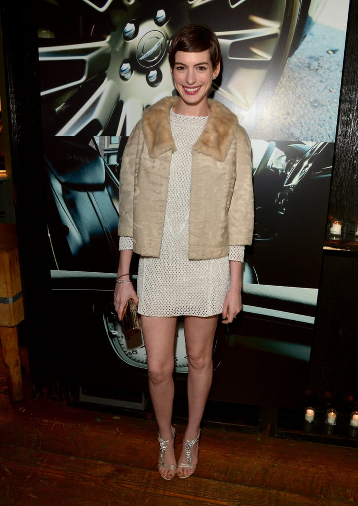 Anne Hathaway wore Spring 2013 Theyskens' Theory at the Vanity Fair celebration of Les Misérables in Los Angeles.