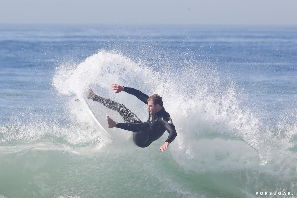 Chris Hemsworth showed off his surfing moves at a beach in LA.