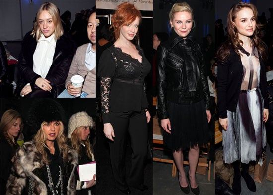 Photos of Kirsten Dunst, Jason Schwartzman, Chloe Sevigny, and Natalie Portman at the 2010 Fall Rodarte Show