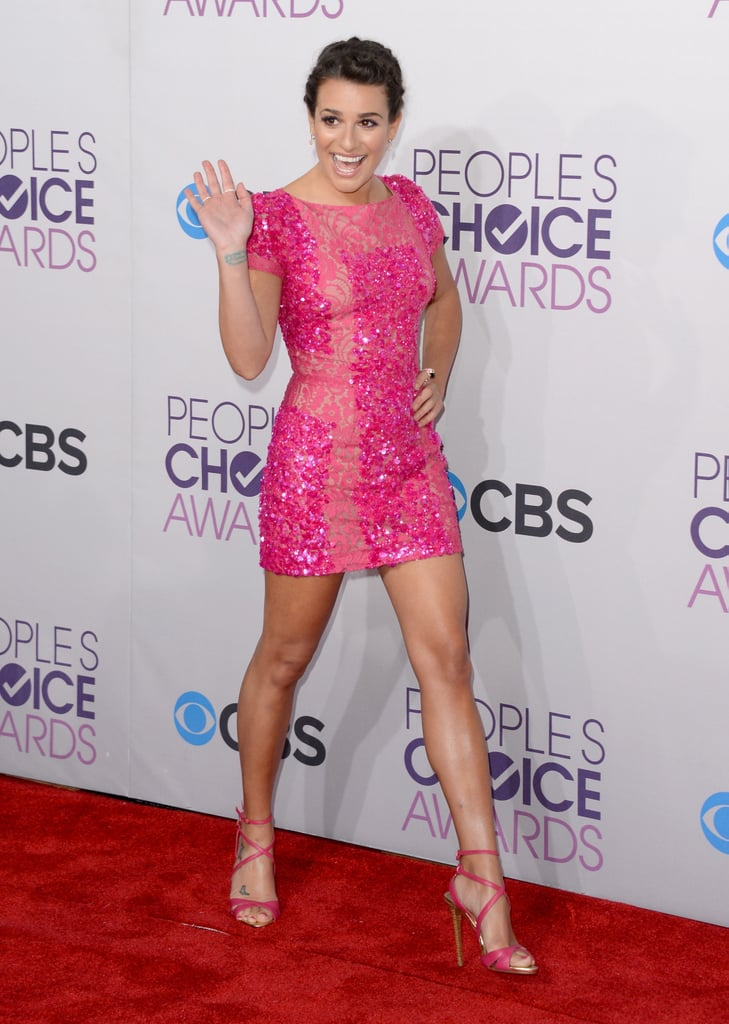 Lea Michele sparkled in pink at the People's Choice Awards.