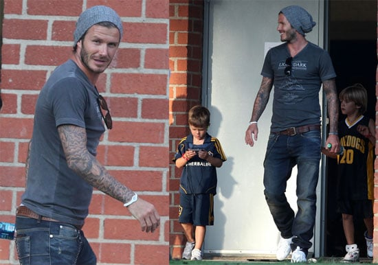 Pictures of David, Cruz, Brooklyn, and Romeo Beckham in LA