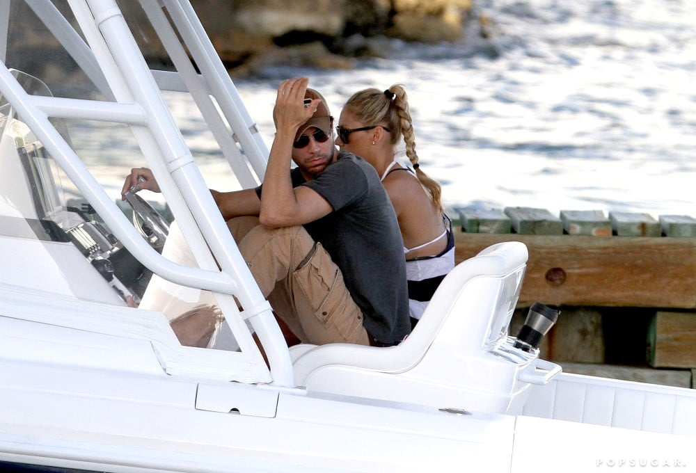 Enrique Iglesias and Anna Kournikova took a trip on the water.