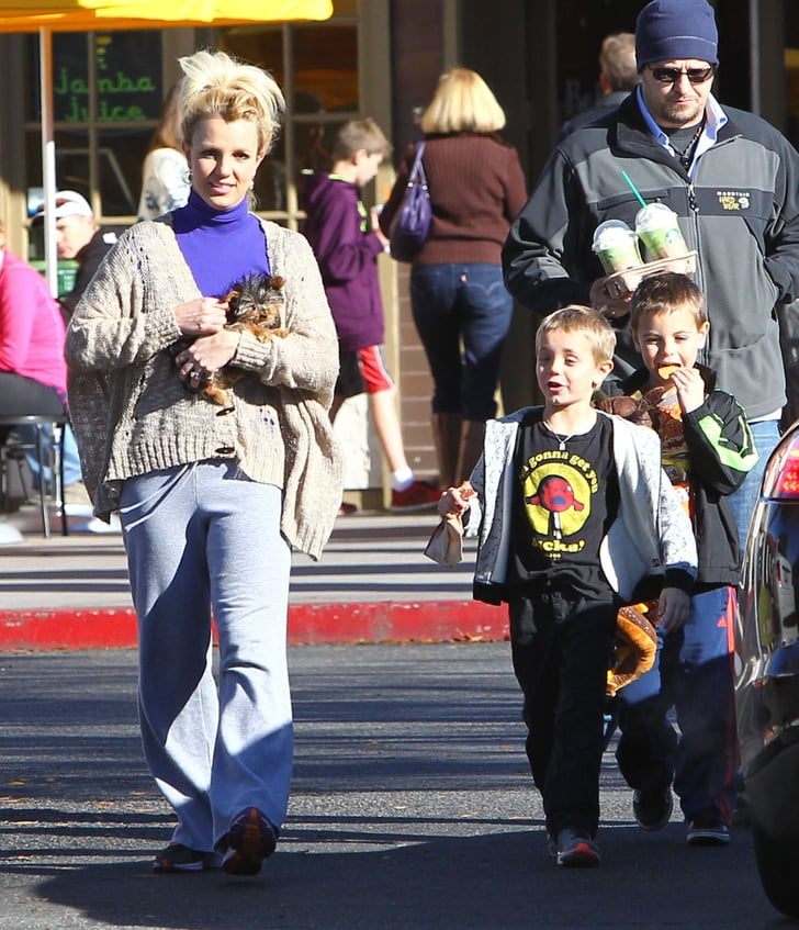 Britney Spears and her boys picked up beverages at Starbucks.