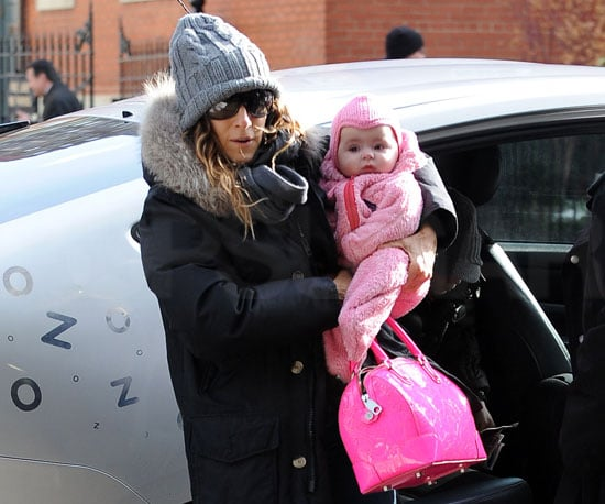 Slide Photo of Sarah Jessica Parker and One of Her Twins Exiting a Car in NYC