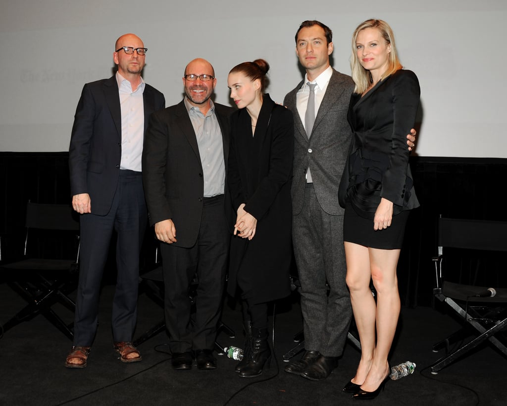Steven Soderbergh, Scott Z. Burns, Rooney Mara, Jude Law, and Vinessa Shaw attended the Side Effects screening in New York.