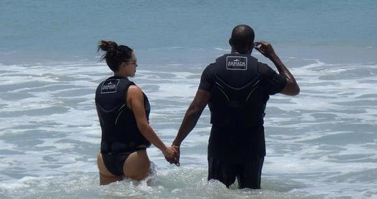 Kim and Kanye waded into the water.   Source: Casa Aramara