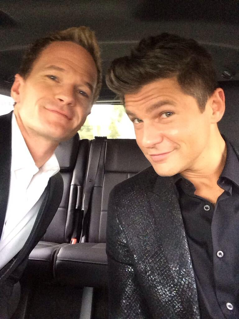 Neil Patrick Harris snapped a selfie alongside David Burtka on their way to the show. Source: Twitter user Actually NPH