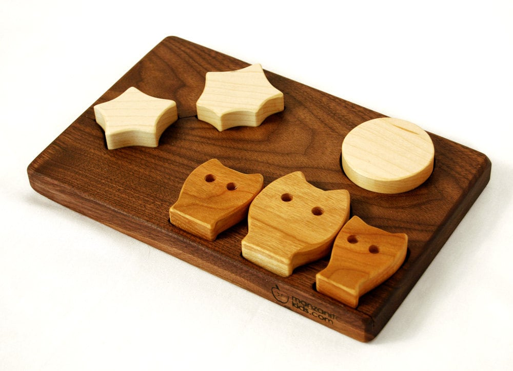 Owls, Stars, and Moon Wooden Puzzle