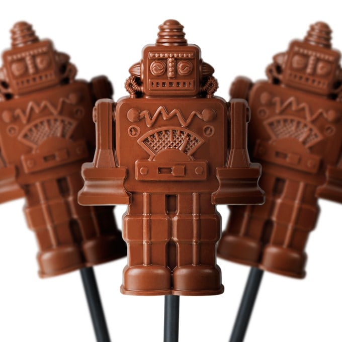 You won't even want to eat these chocolate robot pops ($3 each) because they're so great.
