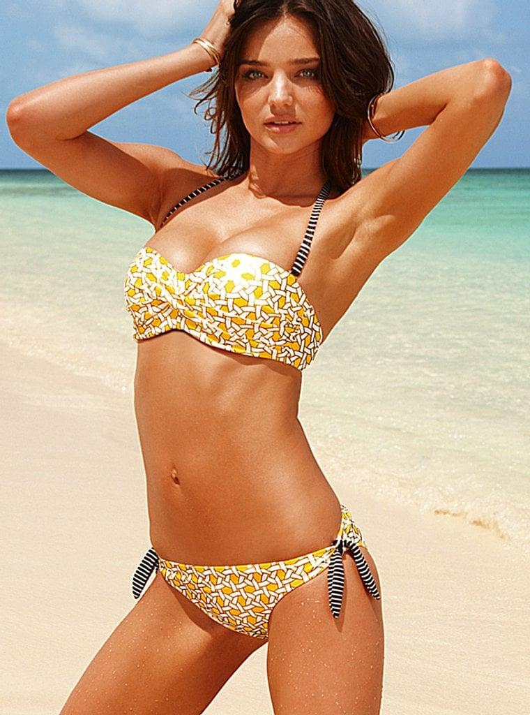 Miranda Kerr in a yellow bikini for Victoria's Secret's new ads.