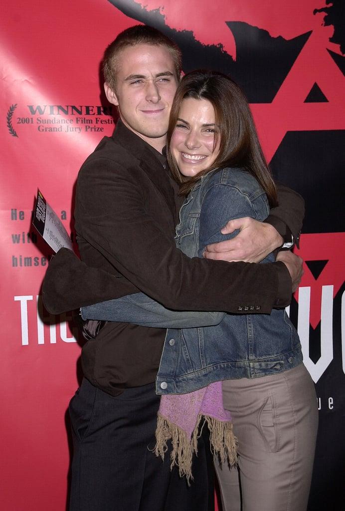 Ryan Gosling gave Sandra a hug at the September 2001 LA premiere of The Believer.