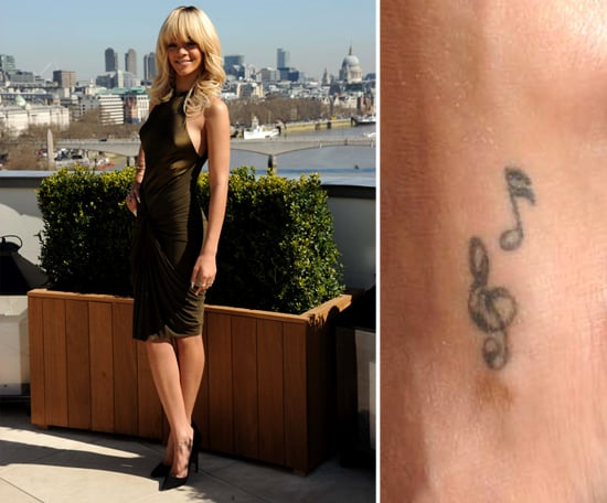 Rihanna got her first tattoos, two music notes, in 2006 at the start of her career.