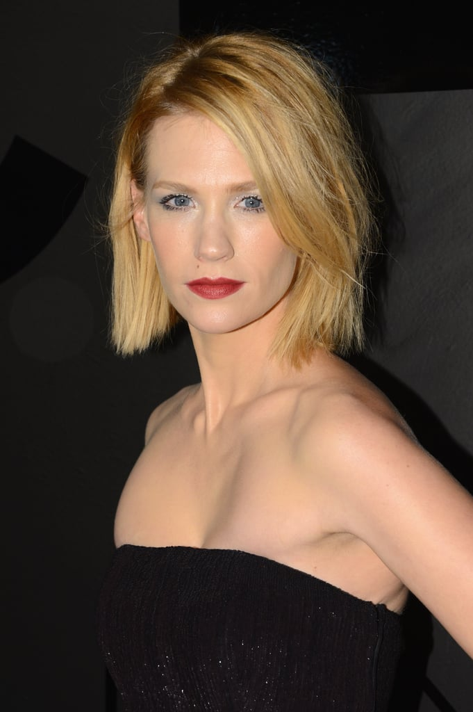 January Jones chose a red lip and tousled hair.
