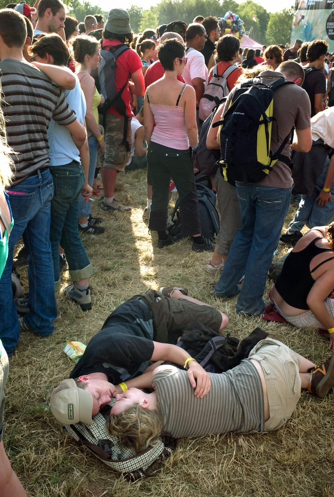 These kissy folks hit the hay (or the grass, rather) during the French rock festival Les Eurockeennes de Belfort in Belfort, eastern France.