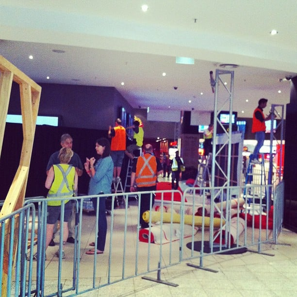 PopSugar editor Jess caught some behind-the-scenes action as workmen set up for the Sydney premiere of new animated film, Wreck It Ralph.