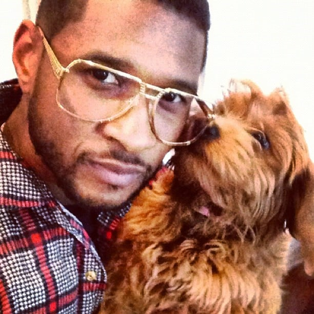 Usher shared a sweet photo with his dog Poppy. Source: Instagram user howuseeit