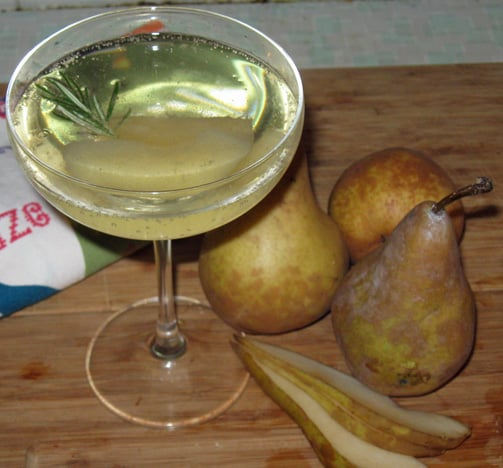 Sparkling Wine Cocktail With Rosemary and Pear