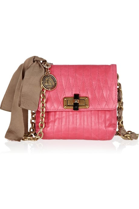 We're ardent fans of Lanvin's modern take on femininity, and this color combo — rose pink and taupe — feels super fresh for Spring. Lanvin Mini Pop Quilted Leather Shoulder Bag  ($1,490)